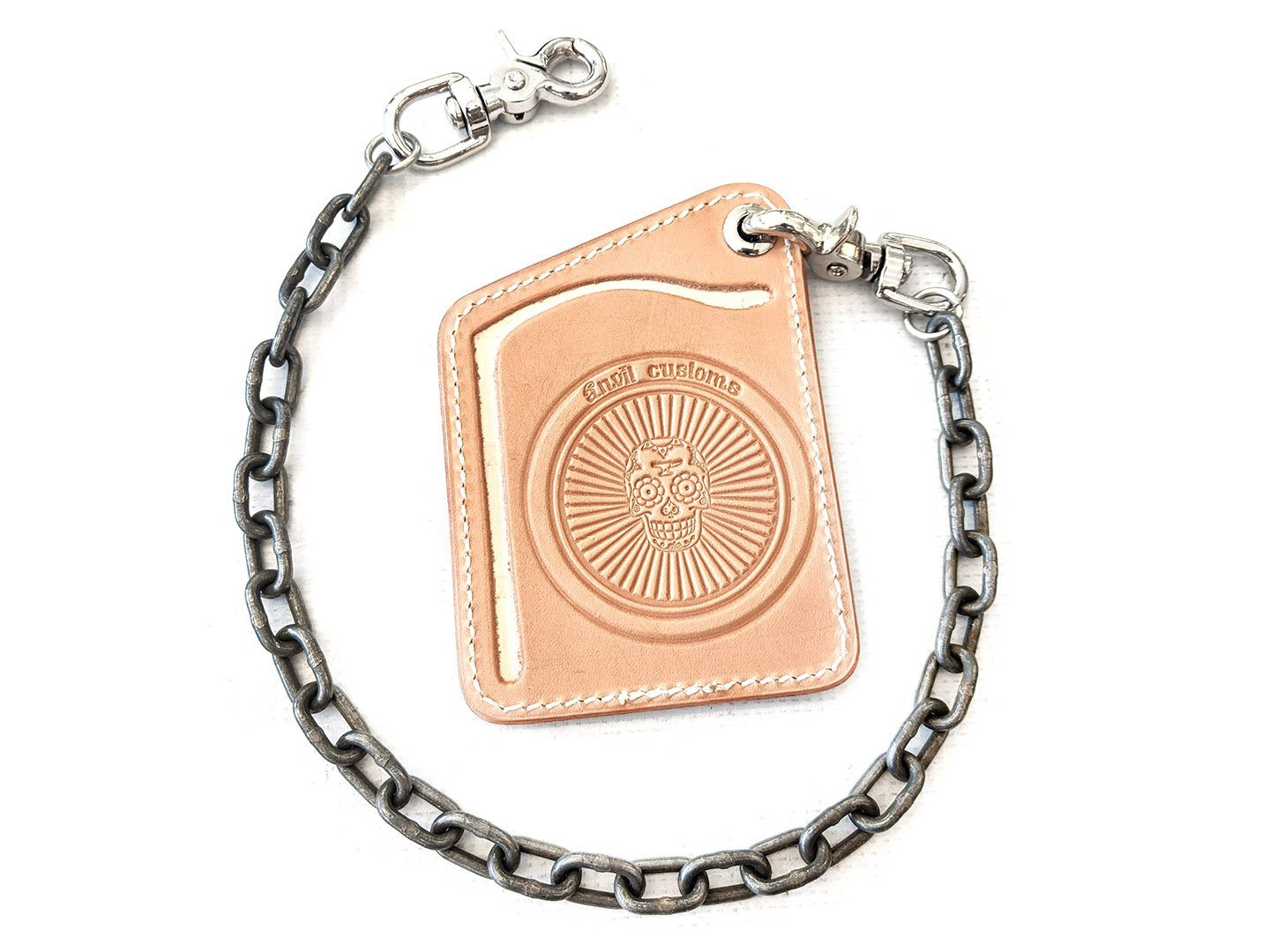 Puritan Chain Wallet - Natural Cowhide with Standard Steel Chain - Anvil Customs