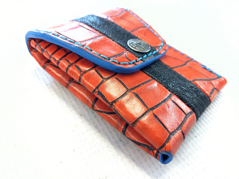 Sarasota Wallet - Orange Alligator with Black Stripe - Anvil Customs