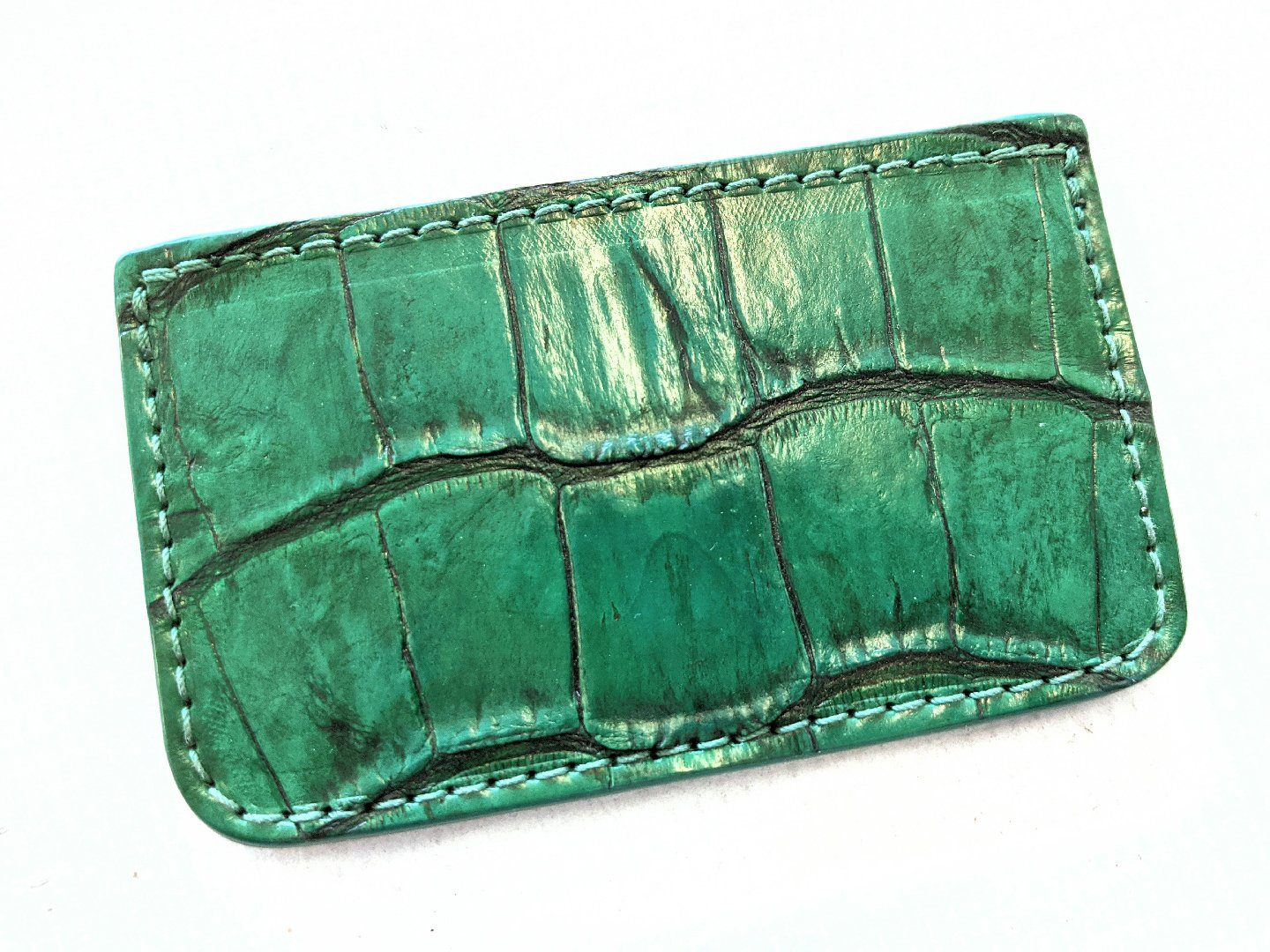 Single Pocket Card Wallet - Antiqued Green Alligator
