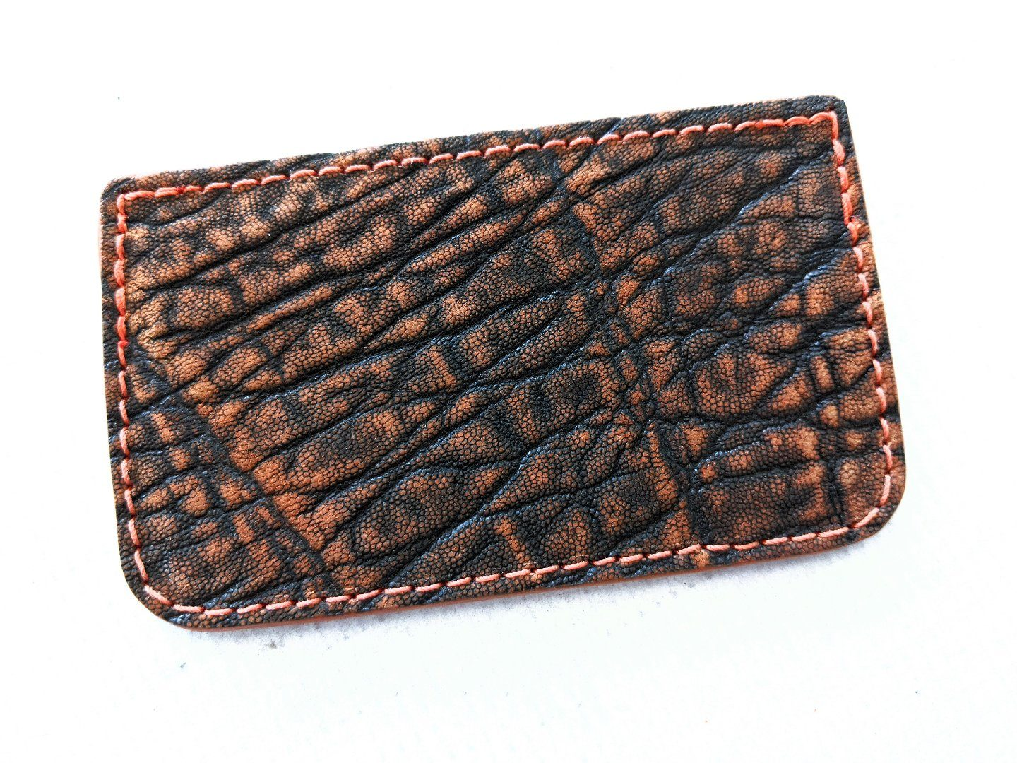 Single Pocket Card Wallet - Cognac Elephant - Anvil Customs
