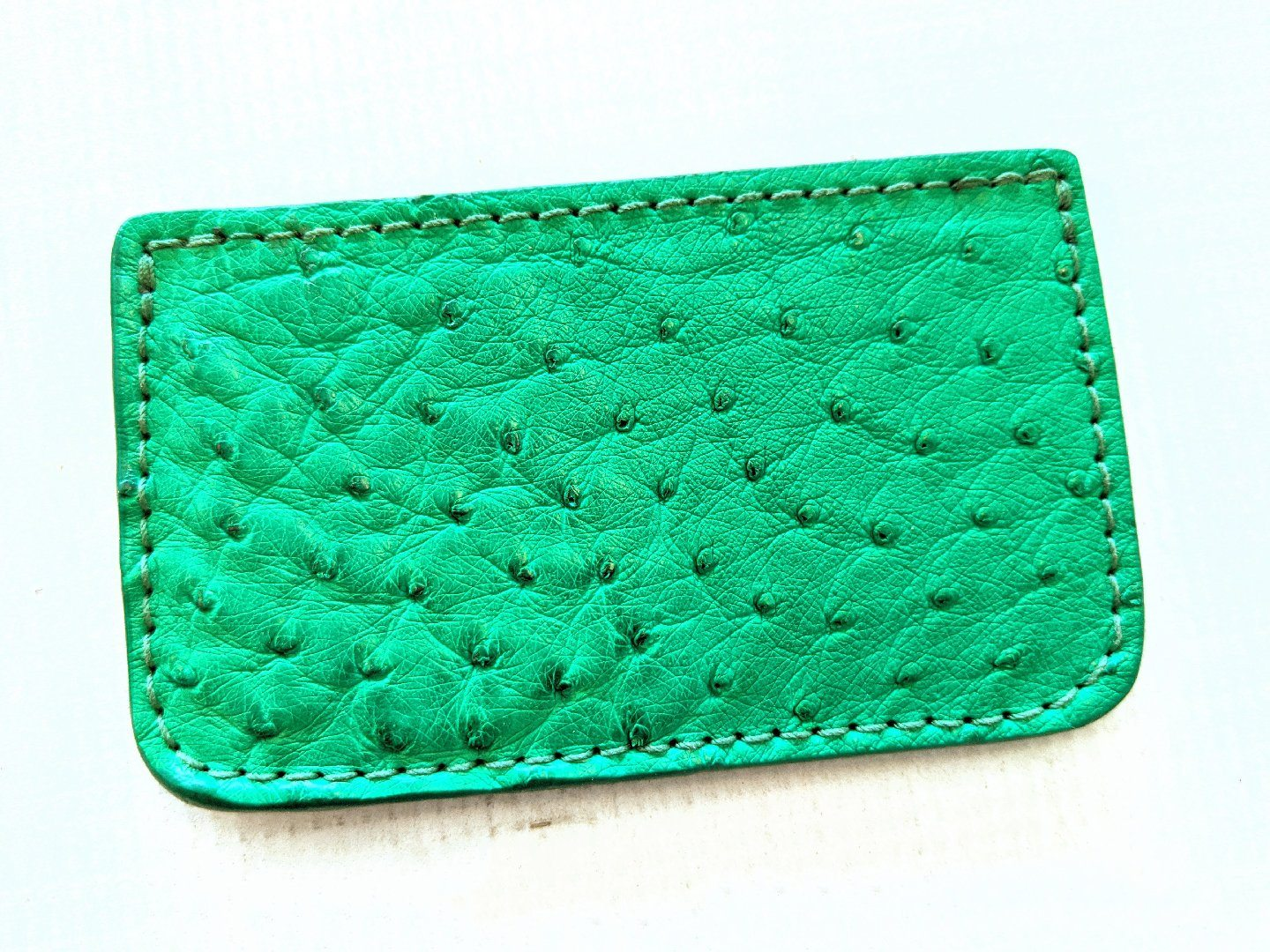 Single Pocket Card Wallet - Green Ostrich
