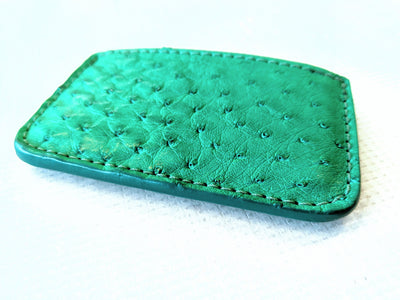 Single Pocket Card Wallet - Green Ostrich - Anvil Customs