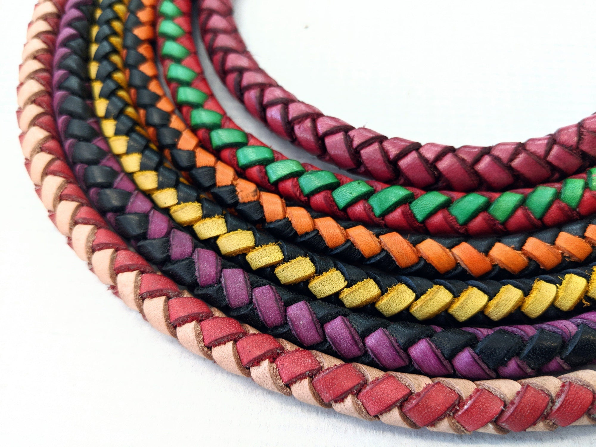 Slim Braided Leather Wallet Chain - Multi-color - Anvil Customs