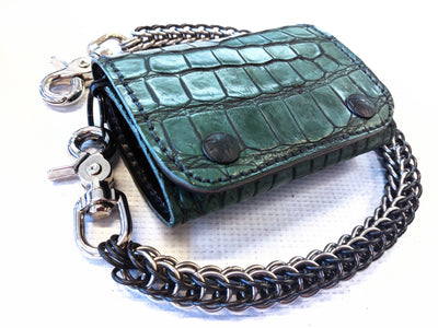 Trifold Chain Wallet - Antiqued Forest Green Alligator - Anvil Customs