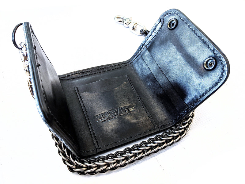Trifold Chain Wallet - Black Stingray