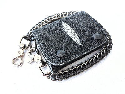 Trifold Chain Wallet - Black Stingray - Anvil Customs