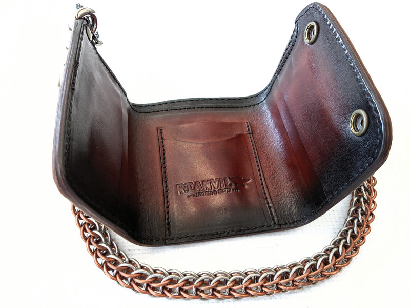 Trifold Chain Wallet - Bourbon Alligator 2 - Anvil Customs