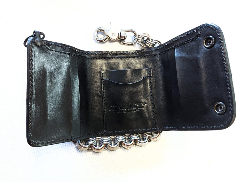 Trifold Chain Wallet - Navy Blue Alligator 2 - Anvil Customs