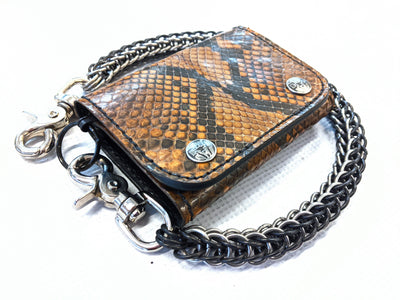 Trifold Leather Chain Wallet - Coffee Python - Anvil Customs