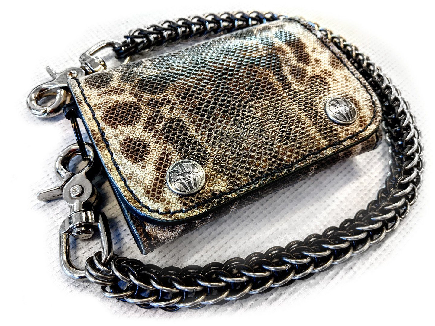 Trifold Leather Chain Wallet - Genuine Karung Snake