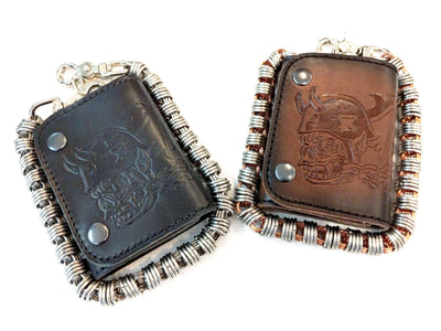 Trifold Leather Chain Wallet - Orc Rider - Anvil Customs