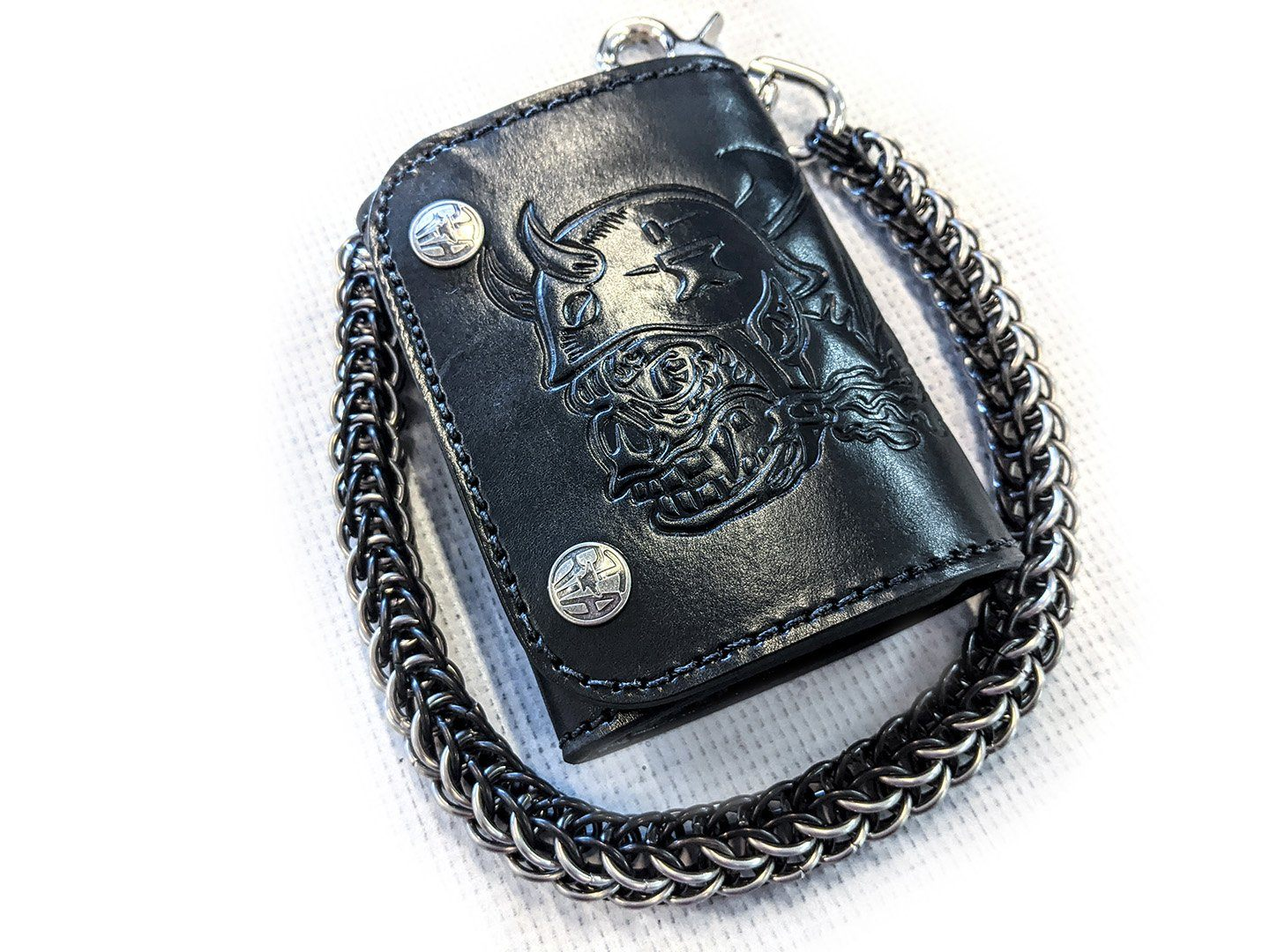 Trifold Leather Chain Wallet - Orc Rider