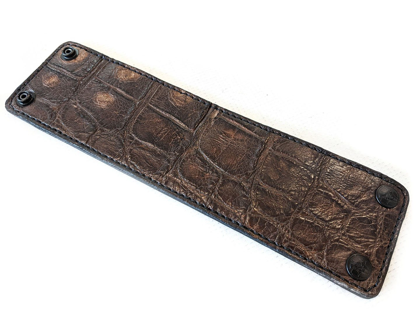 "Wide Leather Cuff - 10"" Old Tobacco Alligator - Anvil Customs"