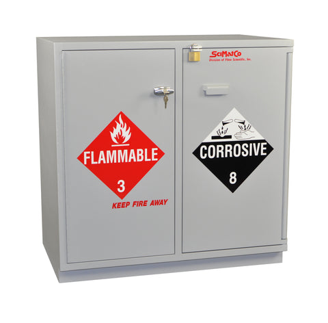 "SC2037 Under-the-Counter, Combination Acid/Flammables Cabinet, Partially Lined, 35"", Self-Closing Door"