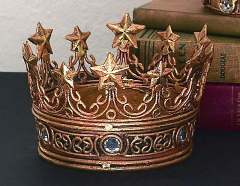 Italian Gold Iron & Tole Crown with Clear Stones and Star Accents