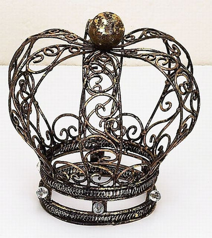 Crown of Wire Design with Clear Stones, and Wood Ball Finial Accent
