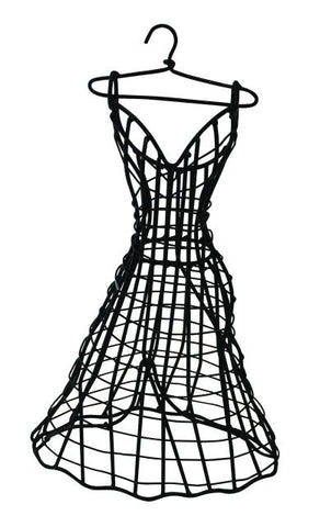 Small Black Iron Tabletop Ball Gown Dress Form/Jewelry Holder
