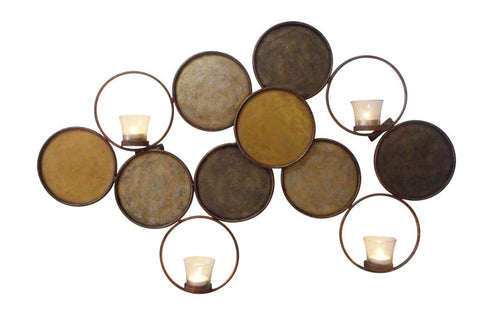 Multi-Gold Circle Accent Four Votive Wall Accent