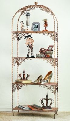 Gold Iron Rectangular Four Shelf