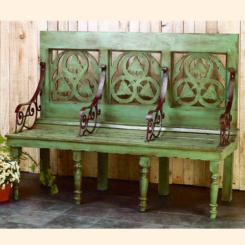 Distressed Blue Wood Garden Bench