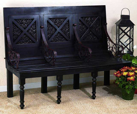 Brown Black Wood Bench