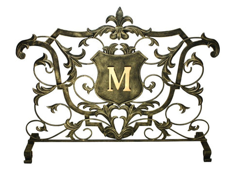 Light Burnished Gold Monogrammed Shield Decorative Fire Screen