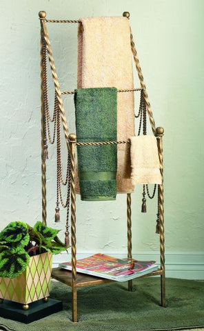 Antique Gold Iron Swag & Tassel Towel Rack
