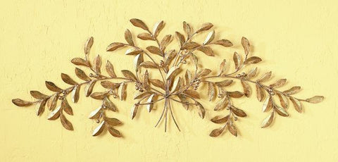 Italian Gold Large Iron and Tole Olive Leaf Wall Decor