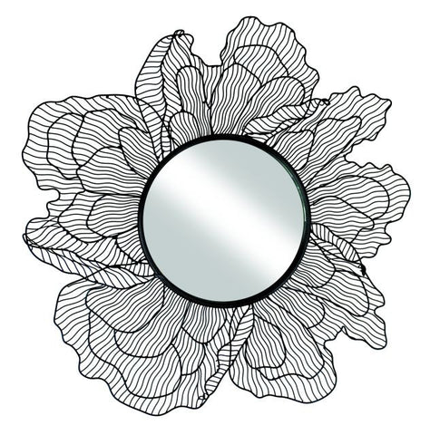 Black Iron Flower Design Wall Mirror with Raised Petals