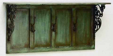 Distressed Blue Wood Wall Shelf with Hook
