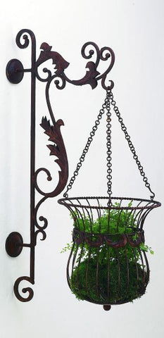 Faux Brown Leaf Accent Iron Wall Bracket and Hanging Basket