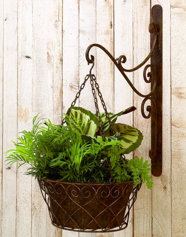 Burnished Green-Brown Iron Wall Bracket and Basket
