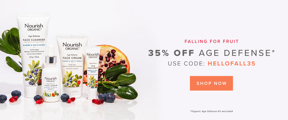 Falling for Fruit: 35% Off Age Defense! Use code: HELLOFALL35 (Organic Age Defense Kit excluded)