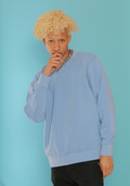 PIGMENT DYED LIGHT BLUE CREW NECK