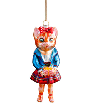 Nathalie Lété Cat Ornament, Tartan Skirt