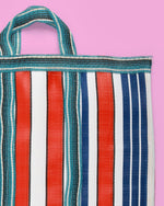 Stripe Nylon Market Bag, Short Handle