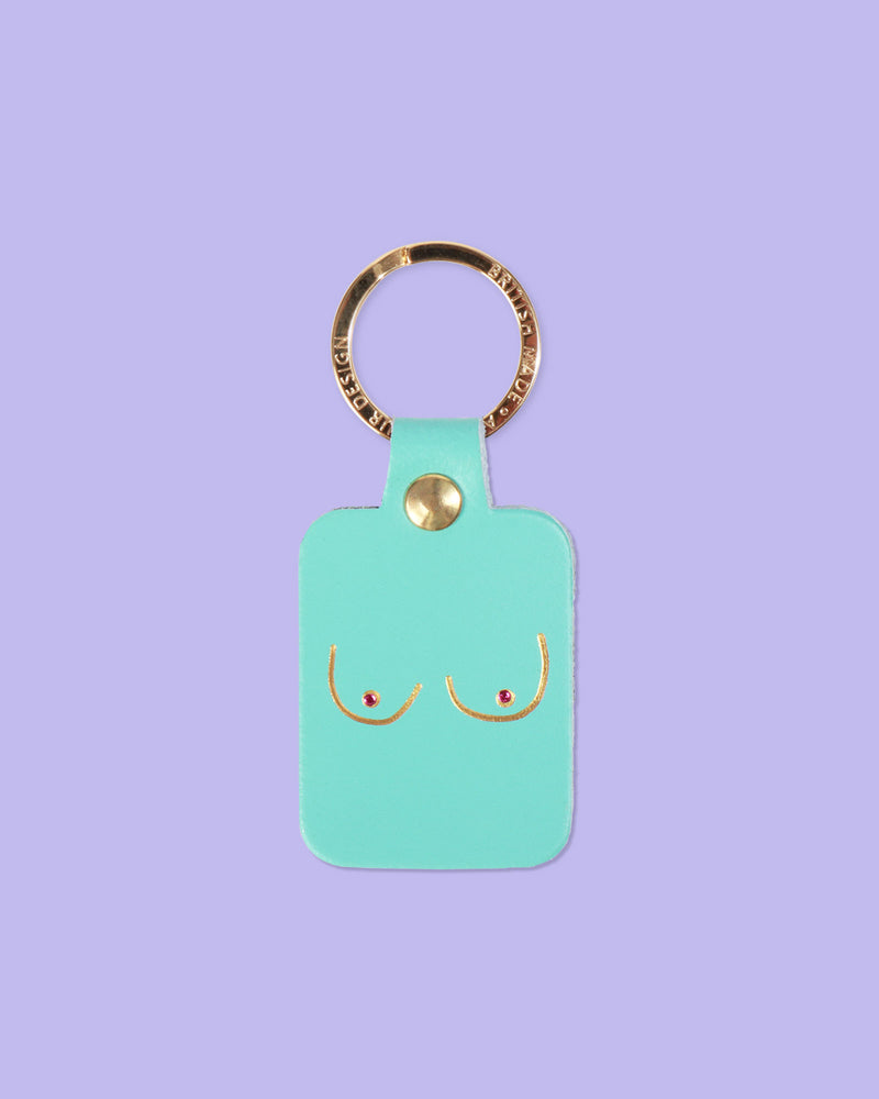 Boobs Key Fob, Turquoise