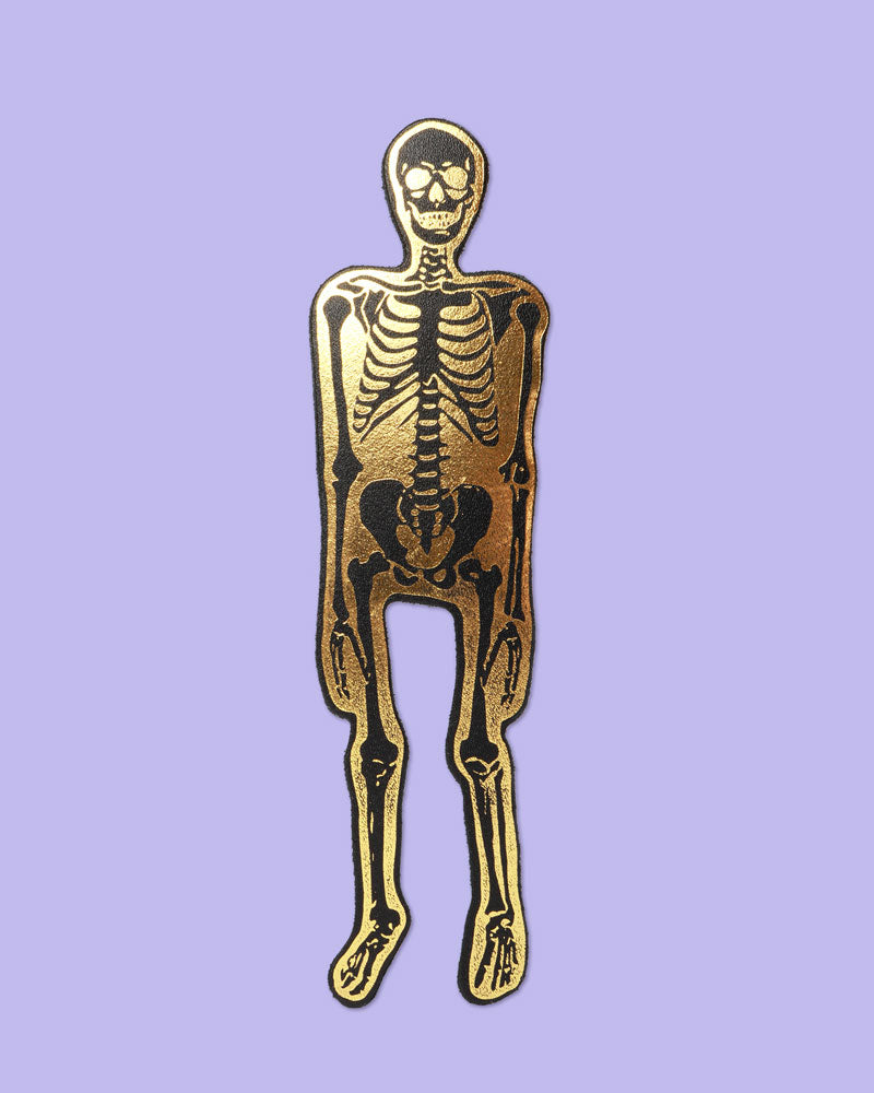 Skeleton Bookmark, Black & Gold