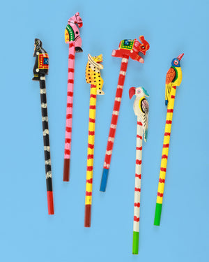 Colourful Animal Top Pencils , Set of Six