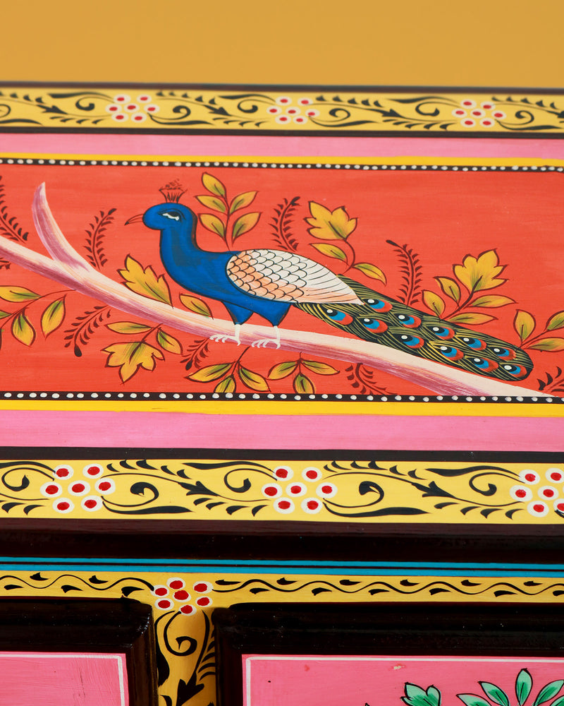 Hand-Painted Wooden Cabinet with Peacocks
