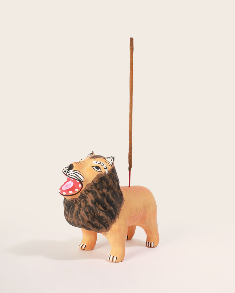 Hand-Painted Lion Incense Holder
