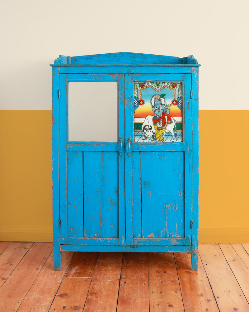 Vintage Mirrored Cupboard with Krishna Painting
