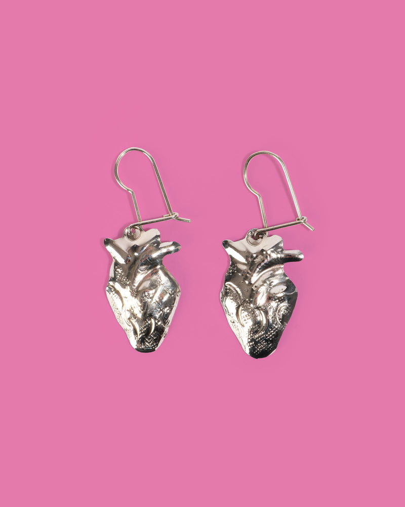 Anatomical Heart Earrings, Silver