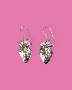 Load image into Gallery viewer, Anatomical Heart Earrings, Silver