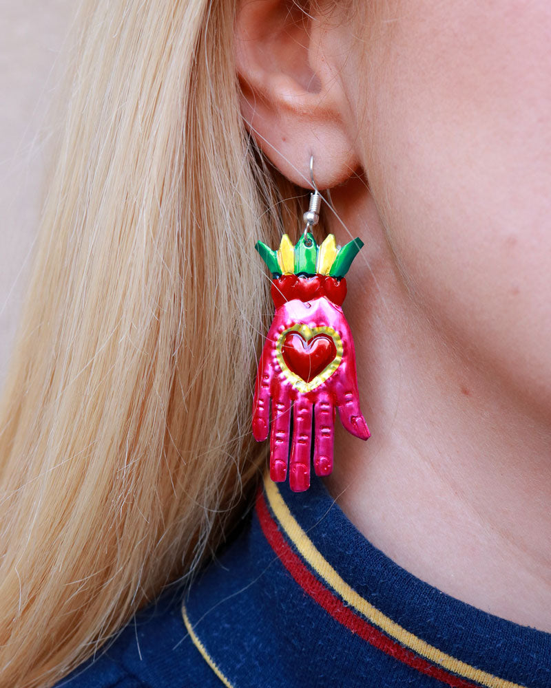 La Mano Earrings, Pink