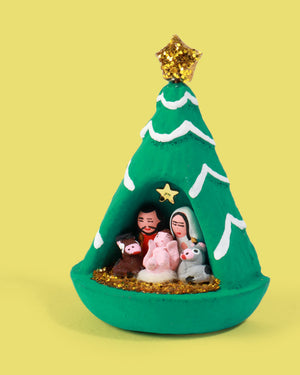 Mini Nativity Christmas Tree