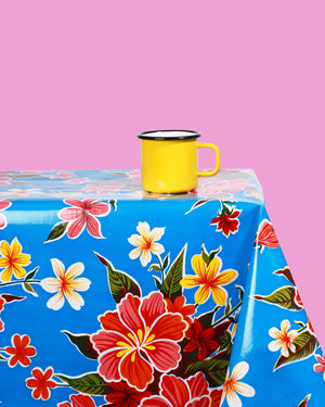 Load image into Gallery viewer, Hibiscus Oilcloth, Dark Blue