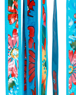 Mexican Oilcloth Door Curtain, Blue Floral