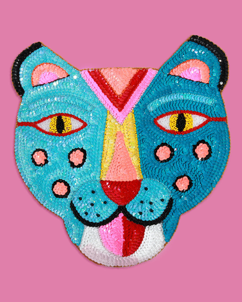 Large Smiling Tiger Sequin Patch, Turquoise