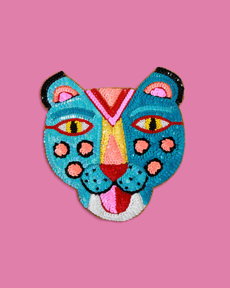 Small Smiling Tiger Sequin Patch, Turquoise